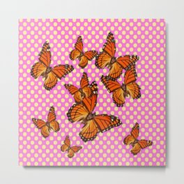 SUMMER MONARCH BUTTERFLIES OPTIC ART Metal Print
