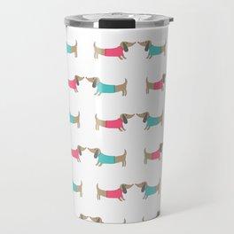 Cute dog lovers in white backgound Travel Mug