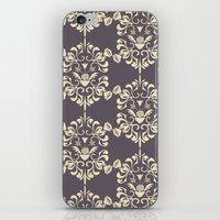 damask iPhone & iPod Skins featuring Damask aubergine by Carolina Abarca