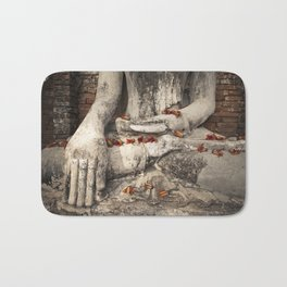 Buddha with flowers Bath Mat