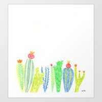 cacti Art Prints featuring Cacti by mirtle
