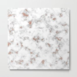 Rose gold gray and white marble Metal Print
