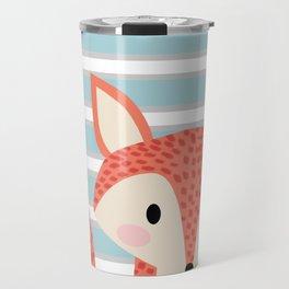Cute fox illustration with stripes blue white and orange Travel Mug