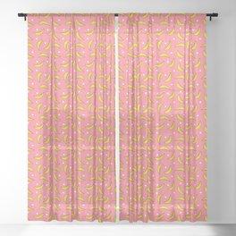 Bananas and polka dots on pink Sheer Curtain