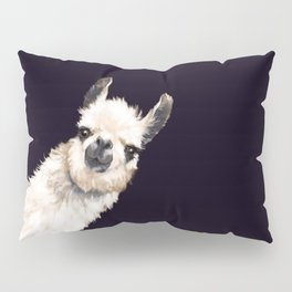 Sneaky Llama in Black Pillow Sham