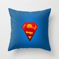 superhero Throw Pillows featuring SUPERHERO by Acus
