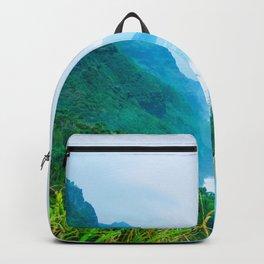 green mountain and ocean view at Kauai, Hawaii, USA Backpack