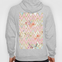 Pastel watercolor floral pink gold chevron pattern Hoody
