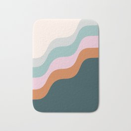 Abstract Diagonal Waves in Teal, Terracotta, and Pink Bath Mat