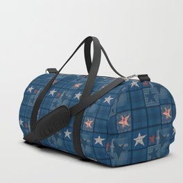 Blue denim patchwork . Duffle Bag