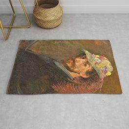 Self-portrait with flowered hat - James Sidney Edouard Baron Ensor Rug