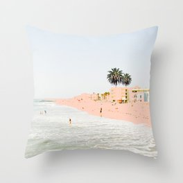 Pink Beach #society6 #decor #buyart Throw Pillow