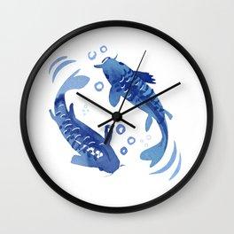 Koi Fish Dance / blue watercolor Wall Clock