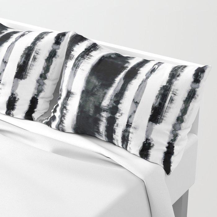 Tie-Dye Shibori Stripe BW Pillow Sham