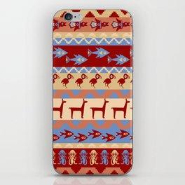 Inca Animals Fish and Birds Pattern iPhone Skin