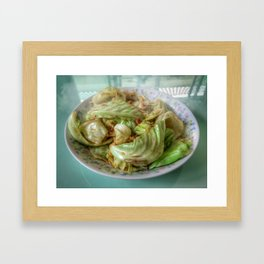 Stir-fry homemade organic Cabbage with chili pepper and garlic in oyster sauce. Framed Art Print