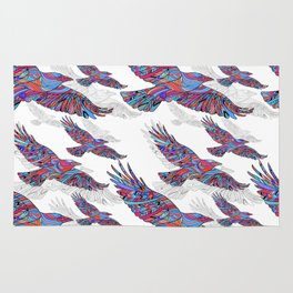 Seamless pattern of Hand-drawn crows with ethnic floral pattern. Abstract background Rug