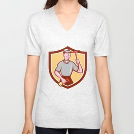 Window Washer Cleaner Squeegee Shield Cartoon Unisex V-Neck