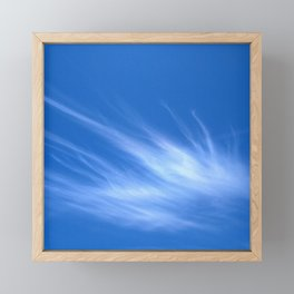 Ivory Strands of Clouds in Bright Blue Sky Framed Mini Art Print