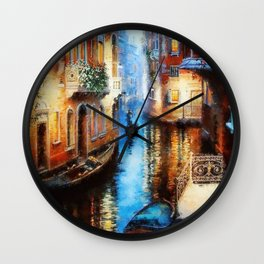 Venice Canal Digital Oil Painting Wall Clock