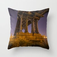 dumbo Throw Pillows featuring DUMBO by Juha Photography