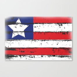 Wood Grain American Flag 4th of July with Fade Print Canvas Print