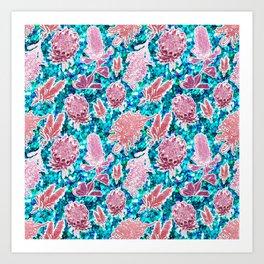 Pink and blue glittery australian native floral print Art Print