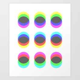 CMYK in RGB Circles Art Print