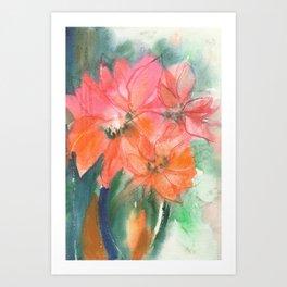 Fiery and Emerald Flowers Art Print