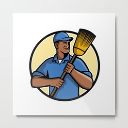African American Street Sweeper or Cleaner Mascot Metal Print