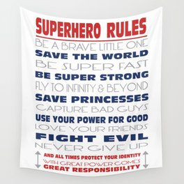 Superhero Rules Wall Tapestry