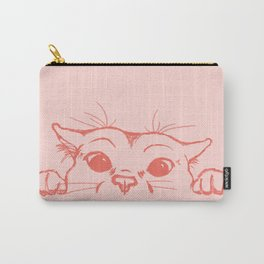 Coral Kitty Carry-All Pouch