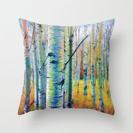 Aspen Trees in the Fall Throw Pillow
