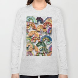 Watercolor Rainbow Stickers Long Sleeve T-shirt