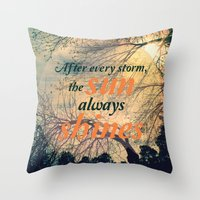sunshine Throw Pillows featuring Sunshine by Graphic Tabby