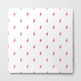 Lightning Bolt Pattern Pink Metal Print