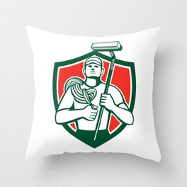 High Rise Window Cleaner Shield Retro Throw Pillow