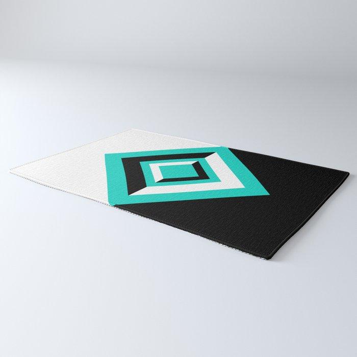 Teal Black and White Diamond Shapes Digital Illustration - Artwork Rug