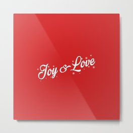 Joy Love Christmas Red Background Metal Print