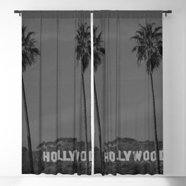 Hollywood Sign, Los Angeles, California black and white photograph / black and white photography Blackout Curtain