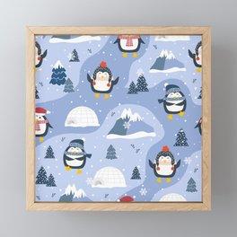 Adorable Winter Penguin Framed Mini Art Print