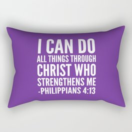 I CAN DO ALL THINGS THROUGH CHRIST WHO STRENGTHENS ME PHILIPPIANS 4:13 (Purple) Rectangular Pillow
