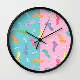 socks kids blue pink yellow purple green rainbow Wall Clock