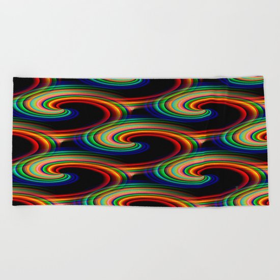 Swirling waves of colors... Beach Towel