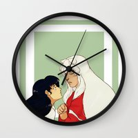 inuyasha Wall Clocks featuring Together by nico_lle