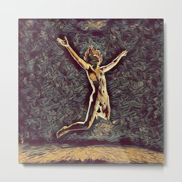 1294s-ZAC Dancer in Midair Leap Rendered in the Style of Antonio Bravo Metal Print