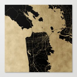 San Francisco California Black and Gold Map Canvas Print