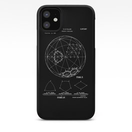Buckminster Fuller 1961 Geodesic Structures Patent - White on Black iPhone Case
