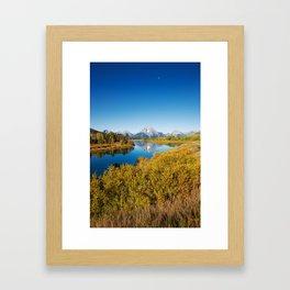 Near the Snake river looking toward Mount Moran in the Grand Tetons. Framed Art Print