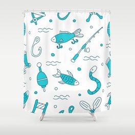 fishing pattern Shower Curtain